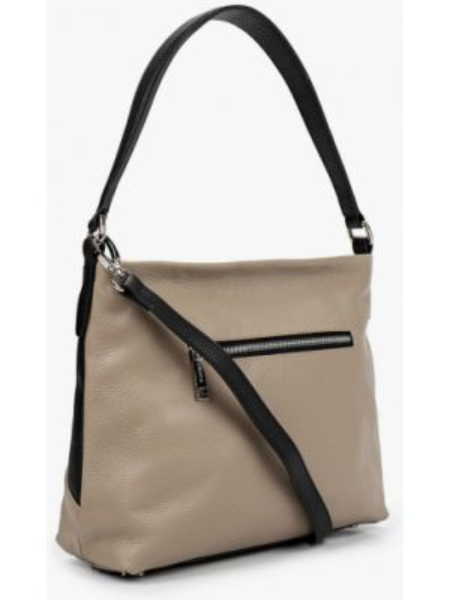 Бежевая кожаная сумка из натуральной кожи Labbra