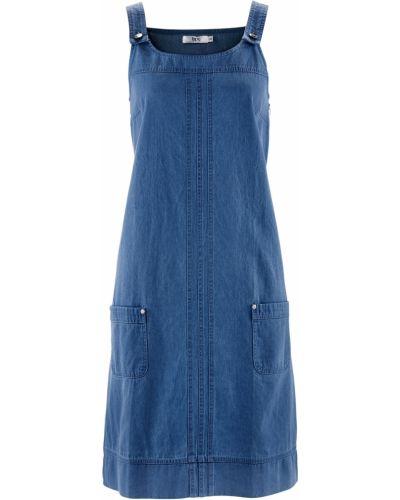 Расклешенное повседневное синее платье миди Bonprix