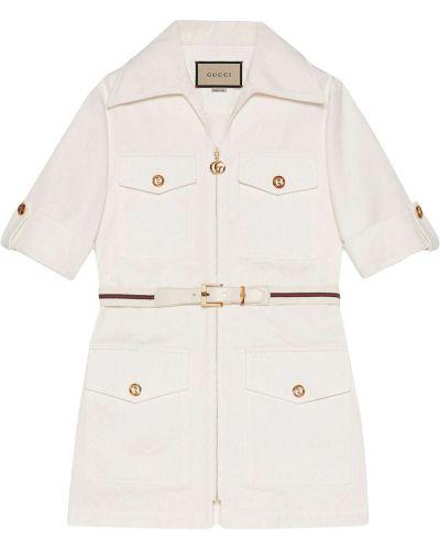 Biała krótka kurtka bawełniana krótki rękaw Gucci