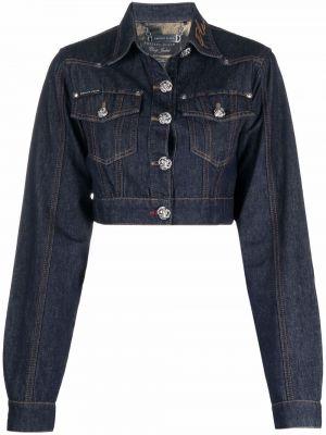 Джинсовая куртка с вышивкой - синяя Philipp Plein