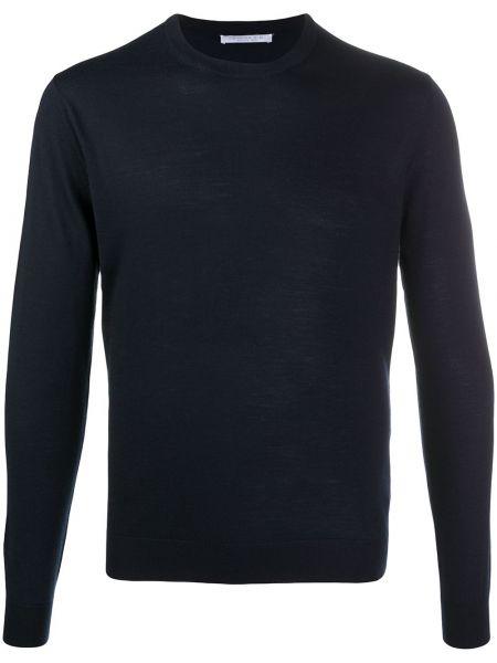 Шерстяной синий свитер в рубчик с вырезом Cenere Gb