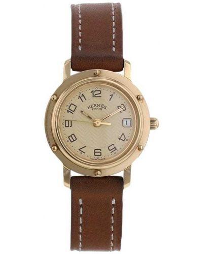 Кожаные золотистые кварцевые часы золотые Hermes