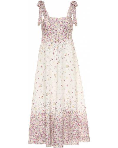 Миди льняное розовое платье Zimmermann
