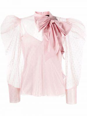 Розовая блузка в горошек с вышивкой Red Valentino