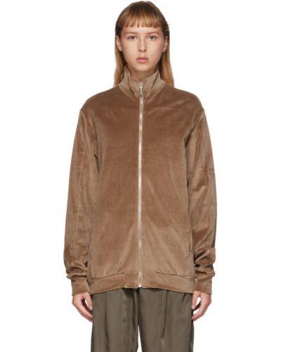 Z rękawami brązowy długi sweter z kołnierzem Serapis