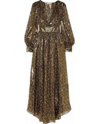 Шелковое платье макси золотое с подкладкой Loveshackfancy