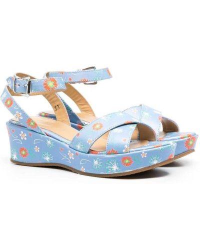 Niebieskie sandały na platformie skorzane Gallucci Kids