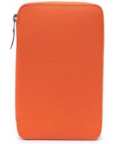 Pomarańczowy portfel skórzany Hermes