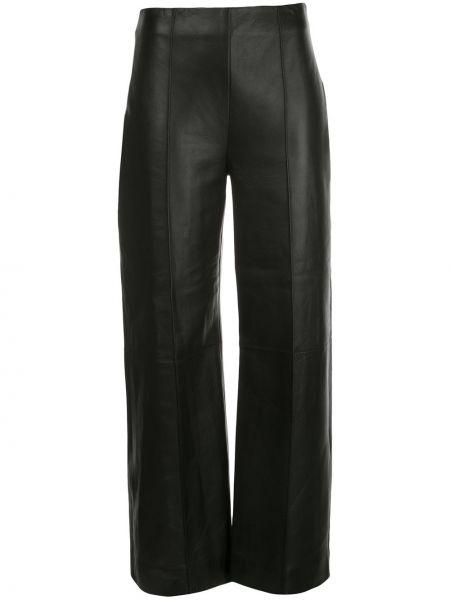 Кожаные черные прямые укороченные брюки с высокой посадкой Oscar De La Renta