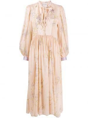 Шелковое с рукавами платье в цветочный принт Forte Forte