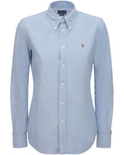 Синяя рубашка с вышивкой Polo Ralph Lauren