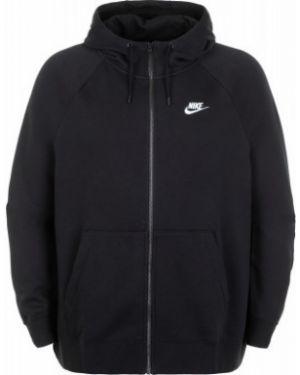Хлопковая спортивная черная толстовка на молнии с капюшоном Nike