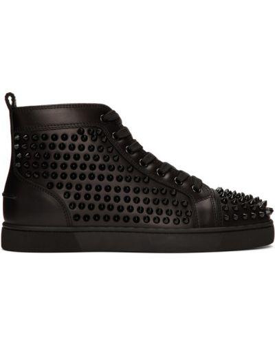 Высокие кроссовки черные на каблуке Christian Louboutin