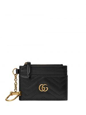 Pikowana czarny portfel skórzany z prawdziwej skóry Gucci