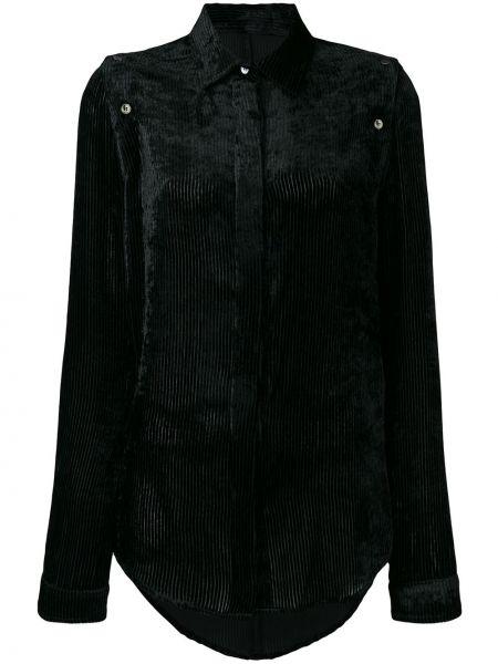 Czarna koszula bawełniana z długimi rękawami Unravel Project
