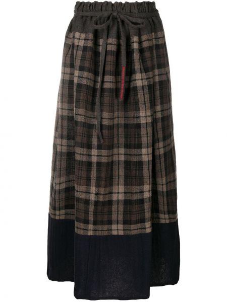 Шерстяная коричневая расклешенная юбка с драпировкой Daniela Gregis