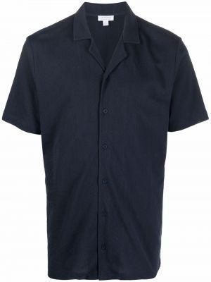 Синяя рубашка с коротким рукавом с короткими рукавами Sunspel