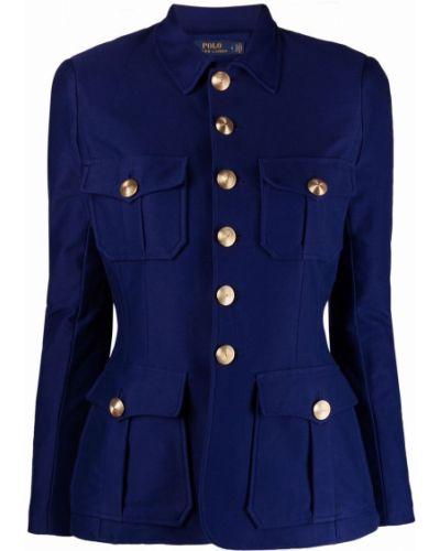 Ватная синяя длинная куртка с воротником Polo Ralph Lauren