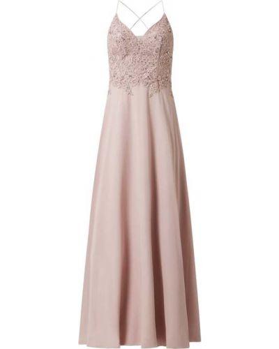 Różowa sukienka wieczorowa rozkloszowana z cekinami Laona