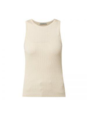 Biały prążkowany top bawełniany Drykorn