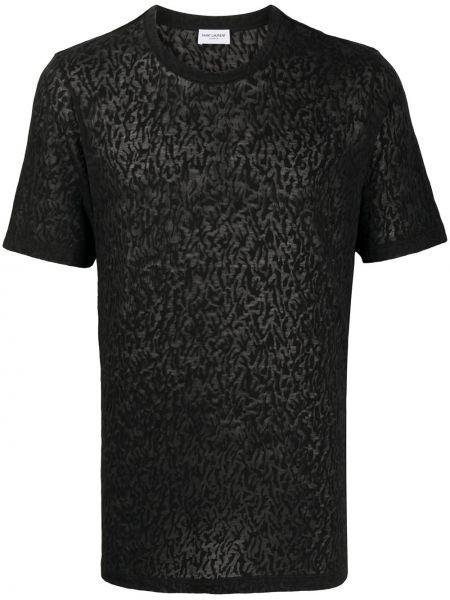 Bawełna prosto czarny koszula z krótkim rękawem okrągły dekolt Saint Laurent