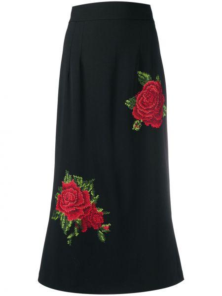 Шелковая черная с завышенной талией юбка миди Dolce & Gabbana