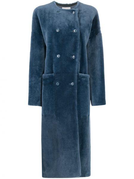 Синее кожаное длинное пальто двубортное Inès & Maréchal