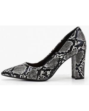 Туфли на каблуке кожаные серые Queen Vivi