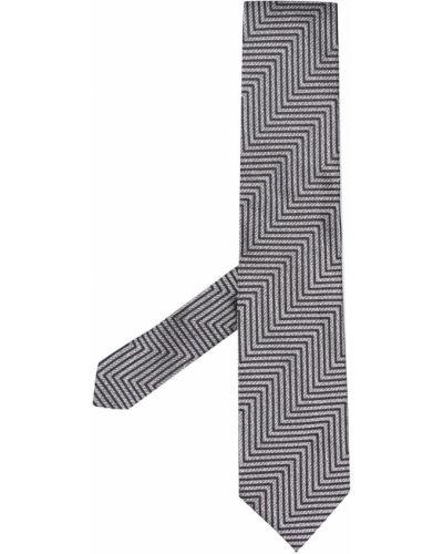 Шелковый серебряный галстук с вышивкой Tom Ford