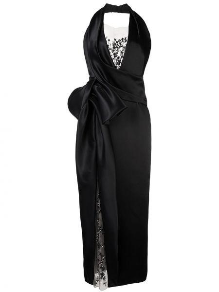 Ажурное черное вечернее платье без рукавов Marchesa