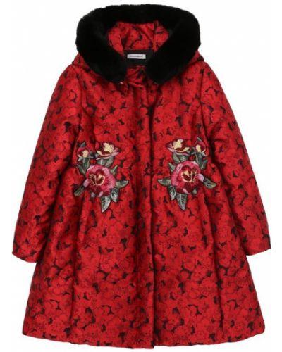 Пальто с капюшоном расклешенное с поясом с вышивкой Dolce & Gabbana
