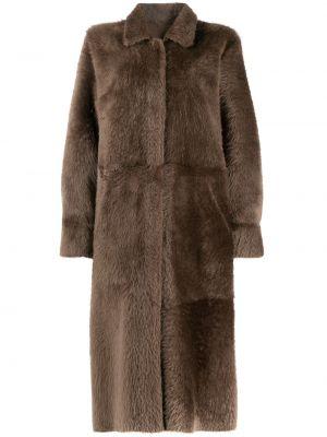 Коричневое шерстяное пальто классическое двустороннее с воротником Liska