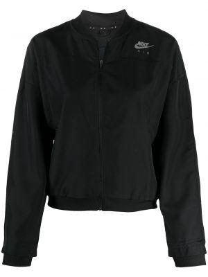 Czarny długa kurtka do biegania z kołnierzem Nike
