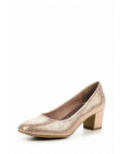 Туфли на каблуке золотого цвета Marco Tozzi