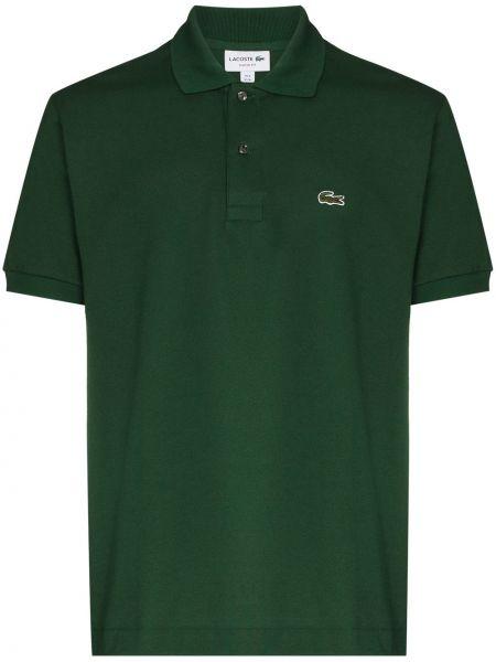 Хлопковая зеленая с рукавами классическая рубашка Lacoste