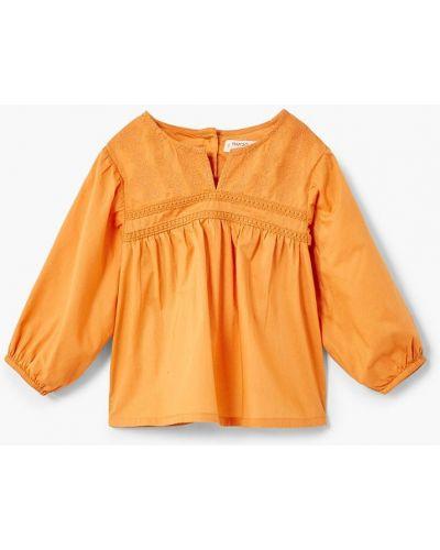 Блуза оранжевый на пуговицах Mango Kids