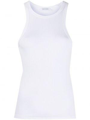 Хлопковый белый топ без рукавов с круглым вырезом Anine Bing