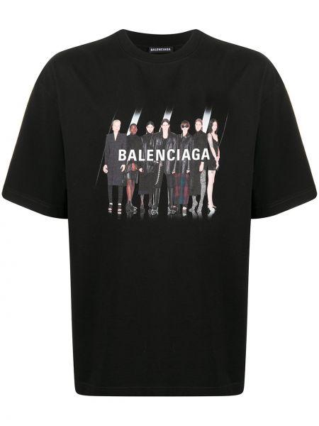 Koszula krótkie z krótkim rękawem z logo prosto Balenciaga