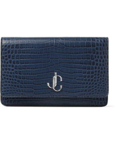 Синяя с ремешком кожаная сумка на плечо Jimmy Choo
