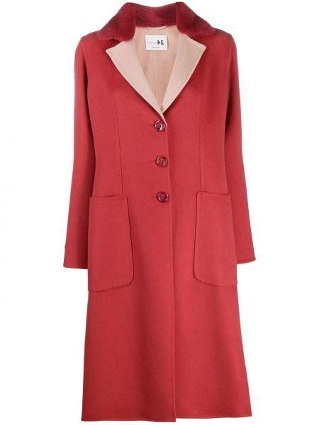 Прямое розовое кашемировое длинное пальто Manzoni 24