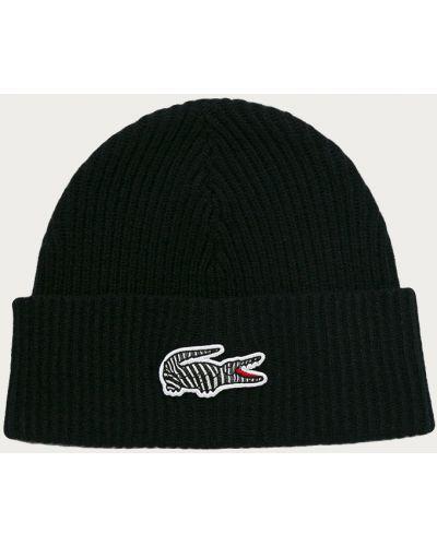 Czarna czapka wełniana Lacoste