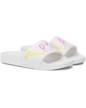 Открытые белые босоножки на каблуке с открытым носком Emilio Pucci Junior