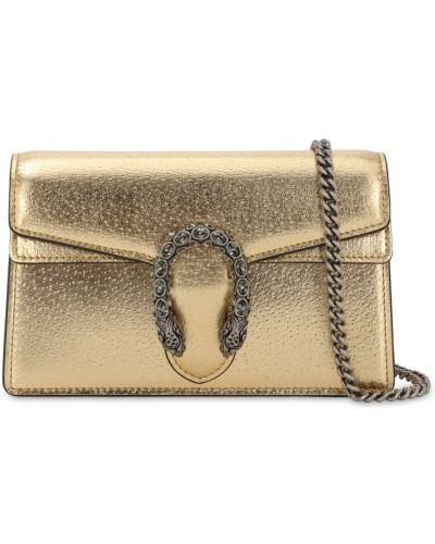 Кожаная сумка на цепочке золотая с пряжкой Gucci