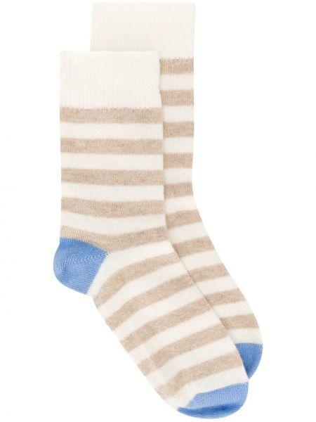 Тонкие кашемировые носки в рубчик со вставками Chinti And Parker
