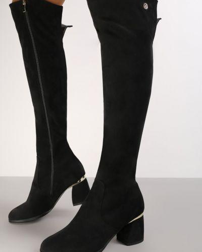 Kozaki za kolano na słupku - czarne Renee