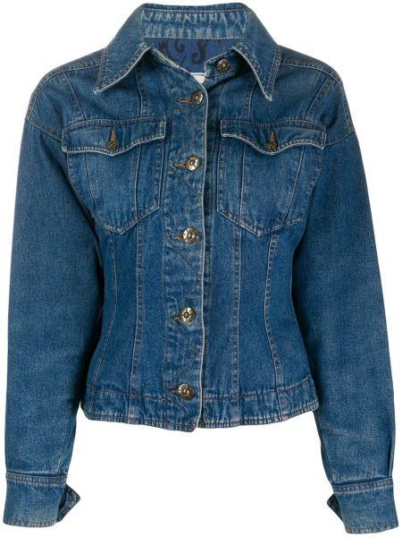 Хлопковая синяя джинсовая куртка с воротником Fendi Pre-owned
