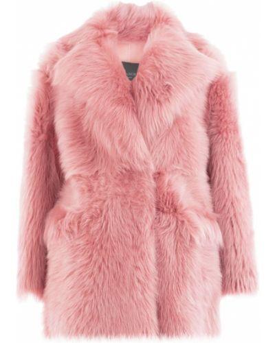 Розовое длинное пальто с воротником Blancha