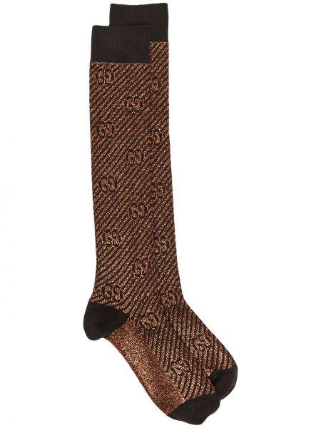 Czarne wysoki skarpety bawełniane z printem Gucci