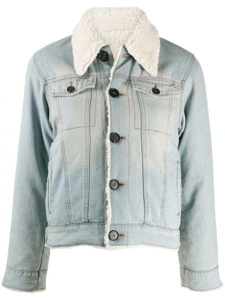 Bawełna z rękawami niebieski jeansy z kieszeniami Victoria Victoria Beckham