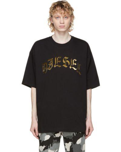 Трикотажная черная футболка с воротником Diesel